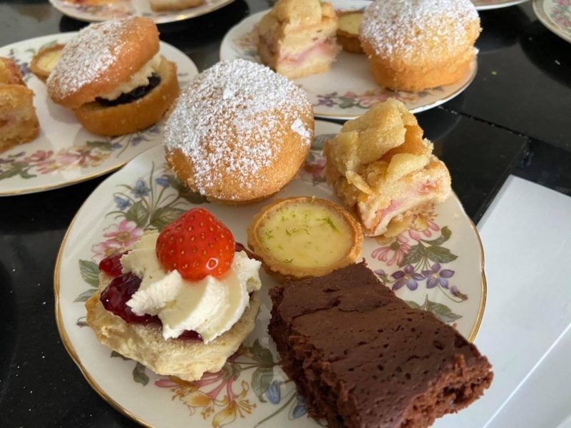 plated cakes for afternoon tea